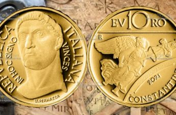 Италия монета 10 евро император Костантин