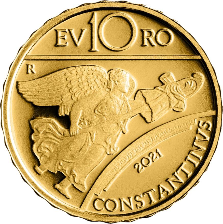Италия монета 10 евро император Костантин, аверс
