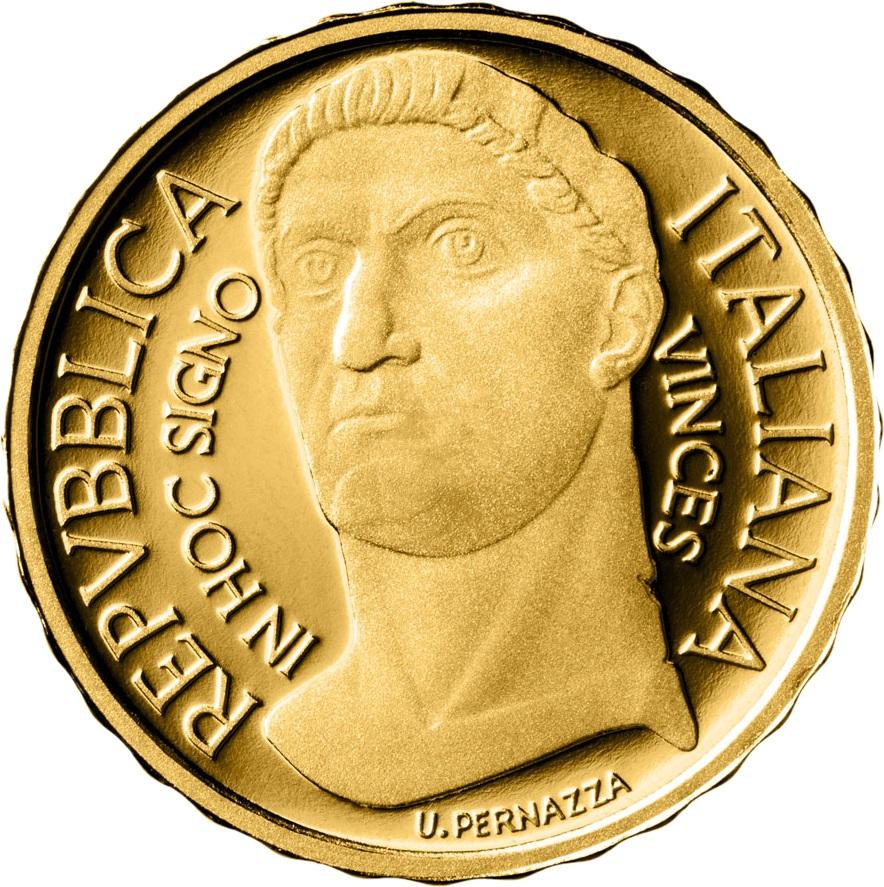 Италия монета 10 евро император Костантин, реверс