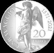 Италия монета 20 евро Микеланджело Меризи да Караваджо, реверс