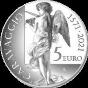 Италия монета 5 евро Микеланджело Меризи да Караваджо, реверс