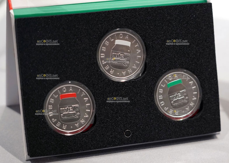 Италия монетау 5 евро Нутелла, подарочная упаковка