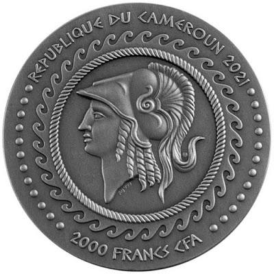 Камерун монета 2000 франков КФА Александр и гордиев узел, аверс
