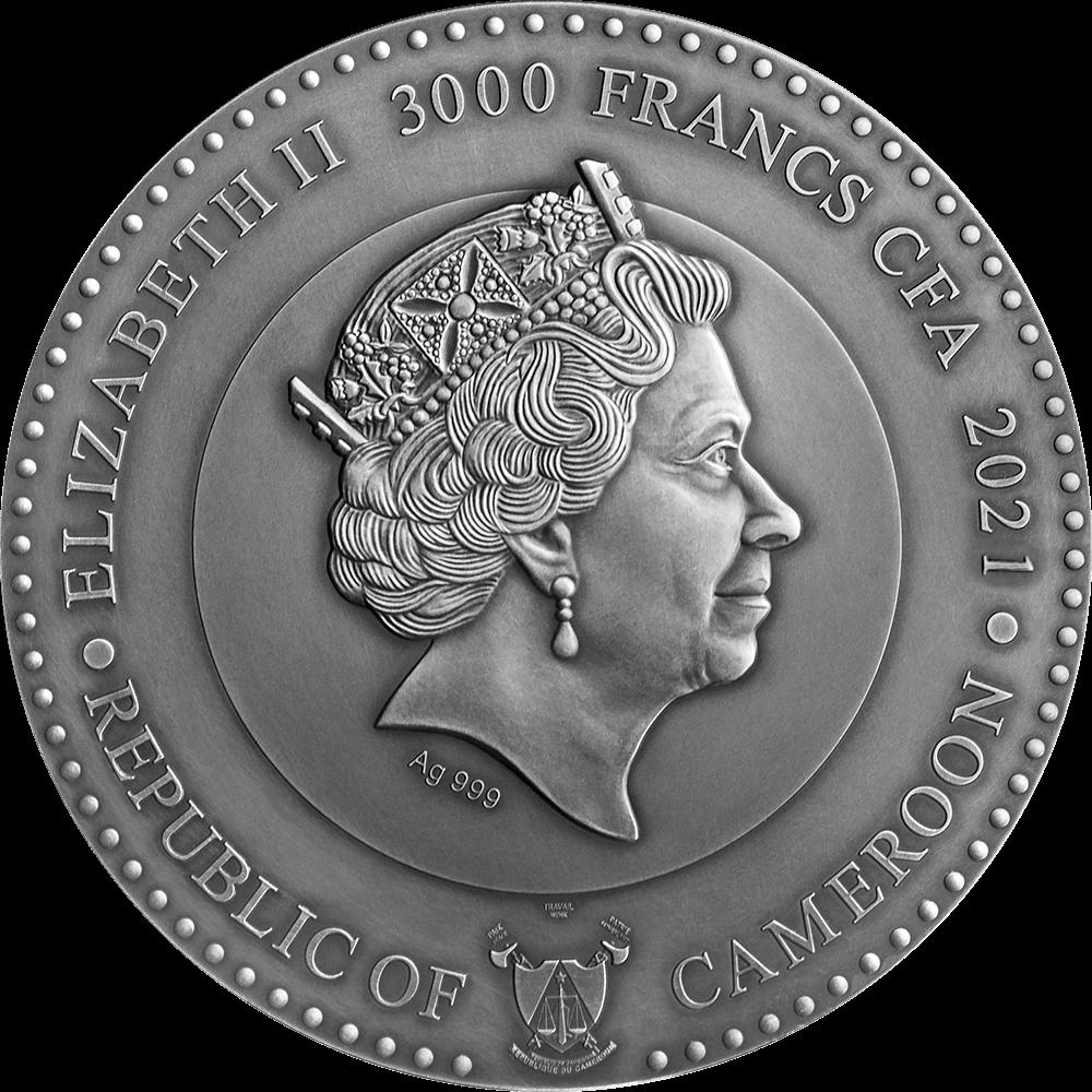 Камерун монета 3000 франков Нептун, аверс