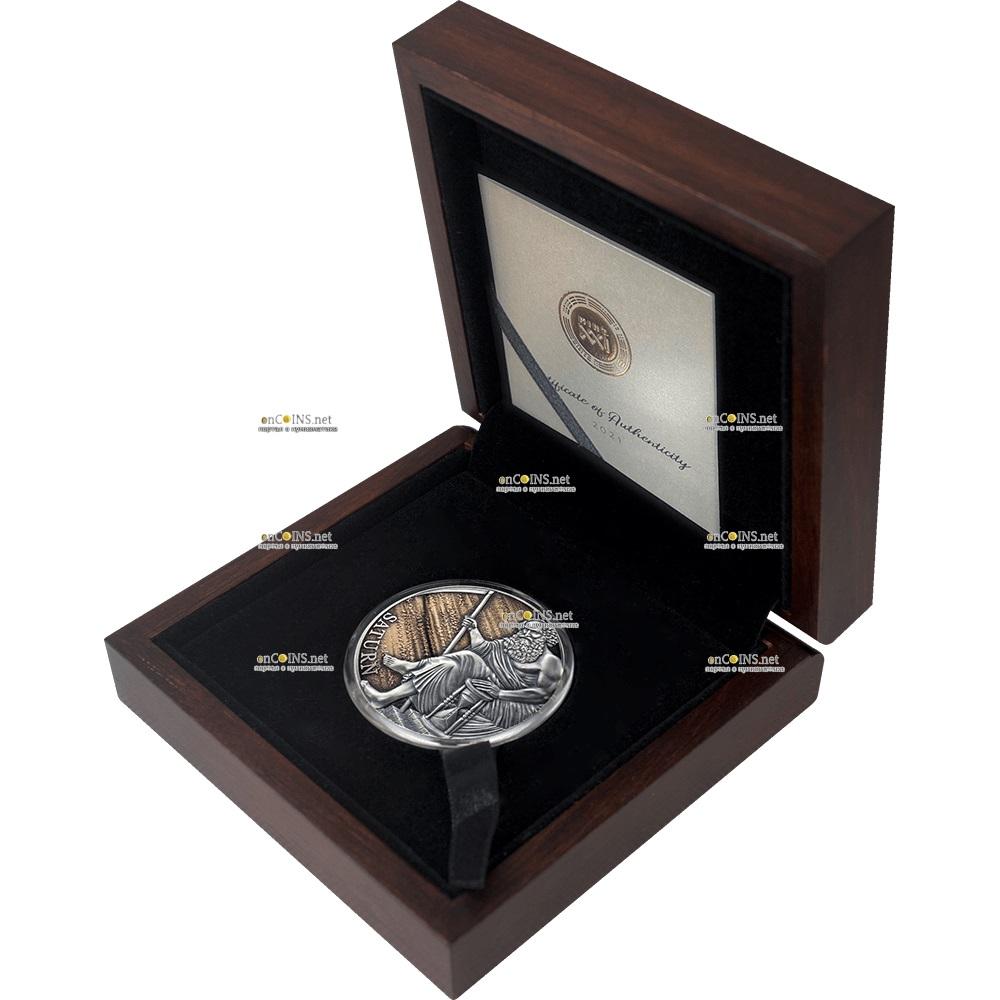 Камерун монета 3000 франков Сатурн, подарочная упаковка