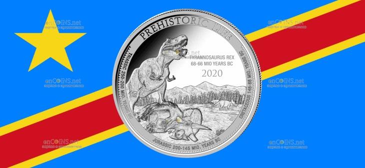 Конго монета 20 франков Тиранозавр Рекс