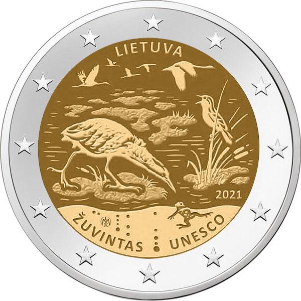 Литва монета 2 евро биосферный заповедник Жувинтас, реверс