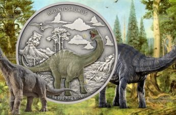 Ниуэ монета 2 доллара Бронтозавр