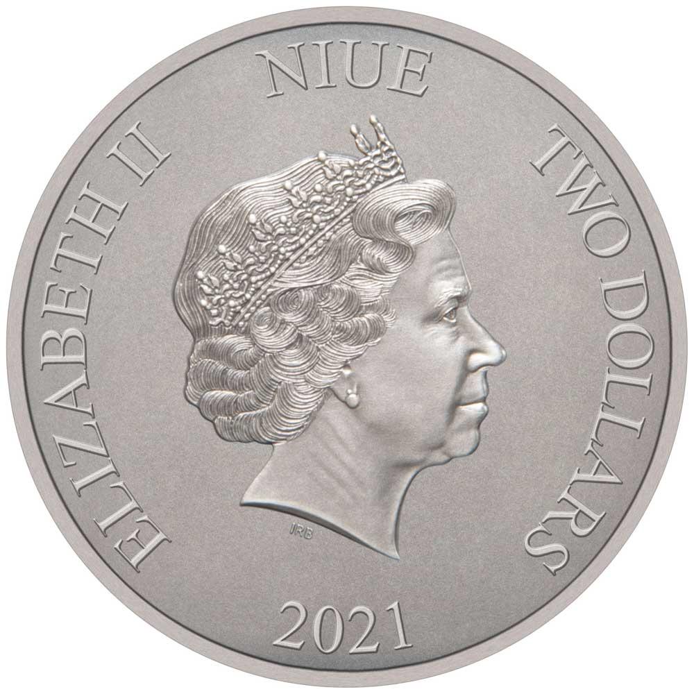 Ниуэ монета 2 доллара Бронтозавр, аверс