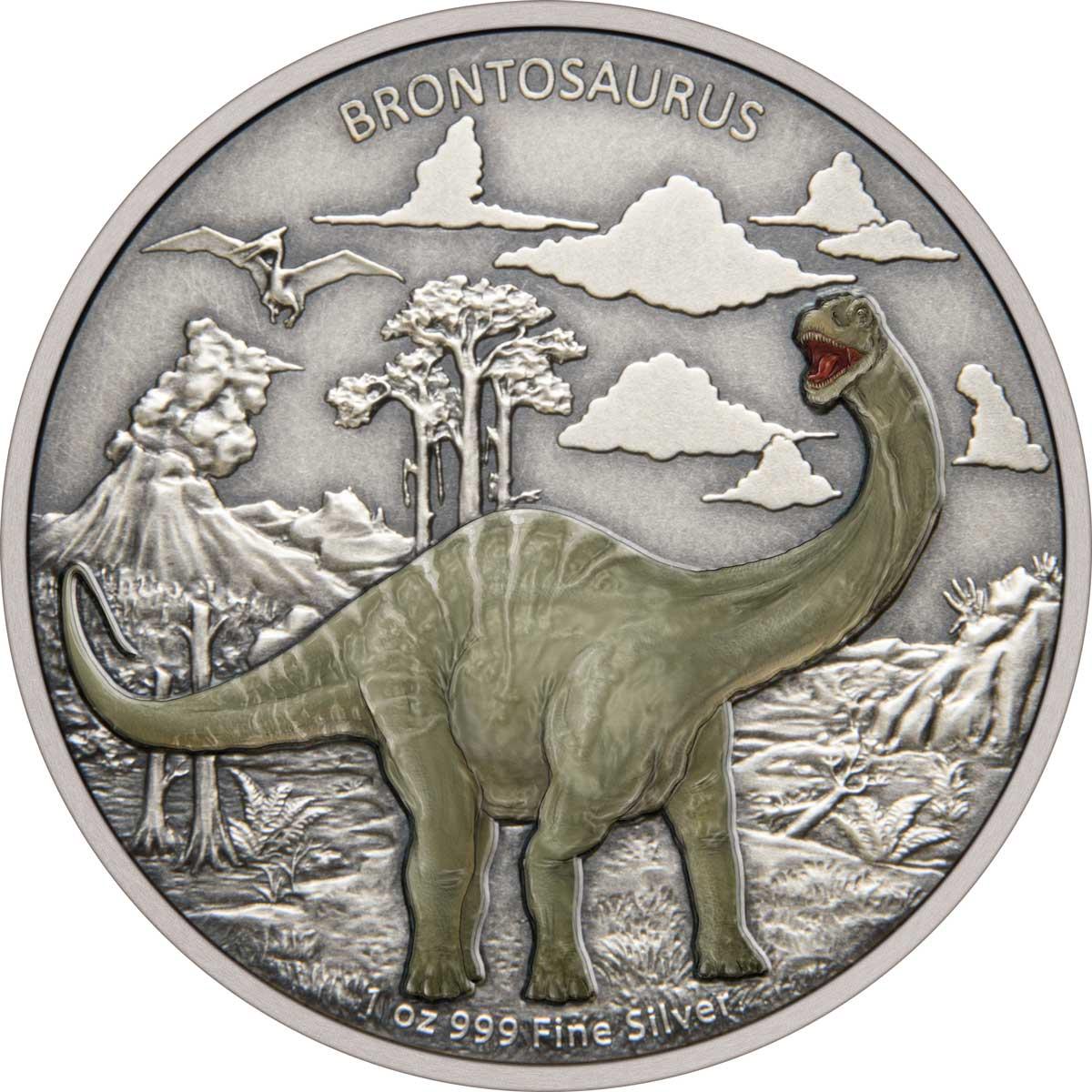 Ниуэ монета 2 доллара Бронтозавр, реверс