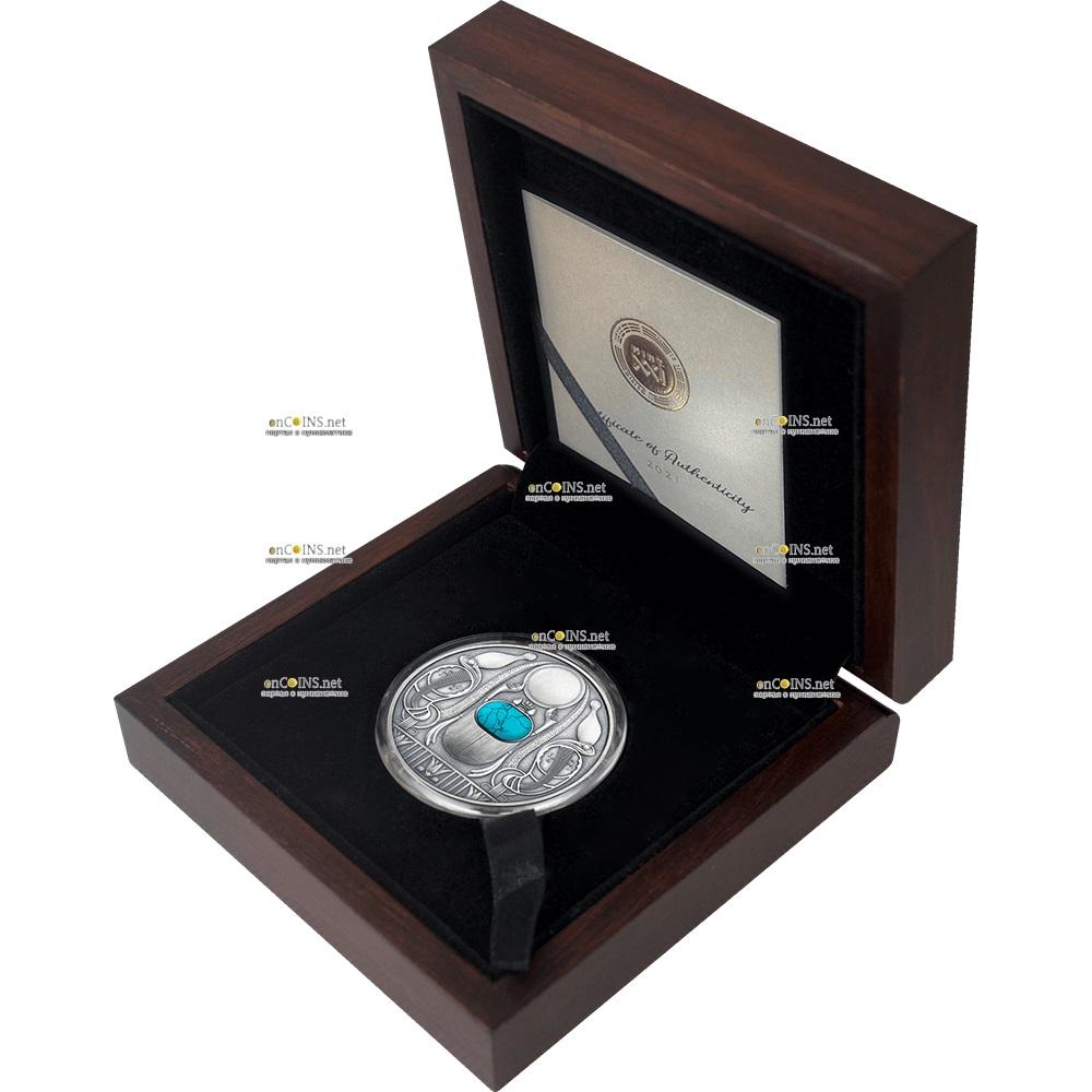 Ниуэ монета 2 доллара Скарабей, подарочная упаковка
