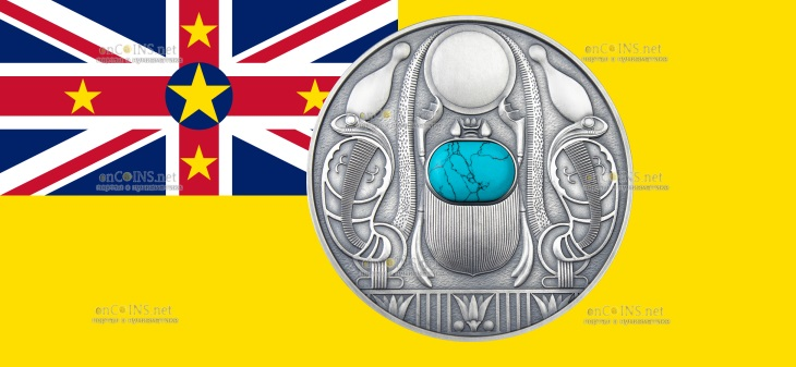 Ниуэ монета 2 доллара Скарабей