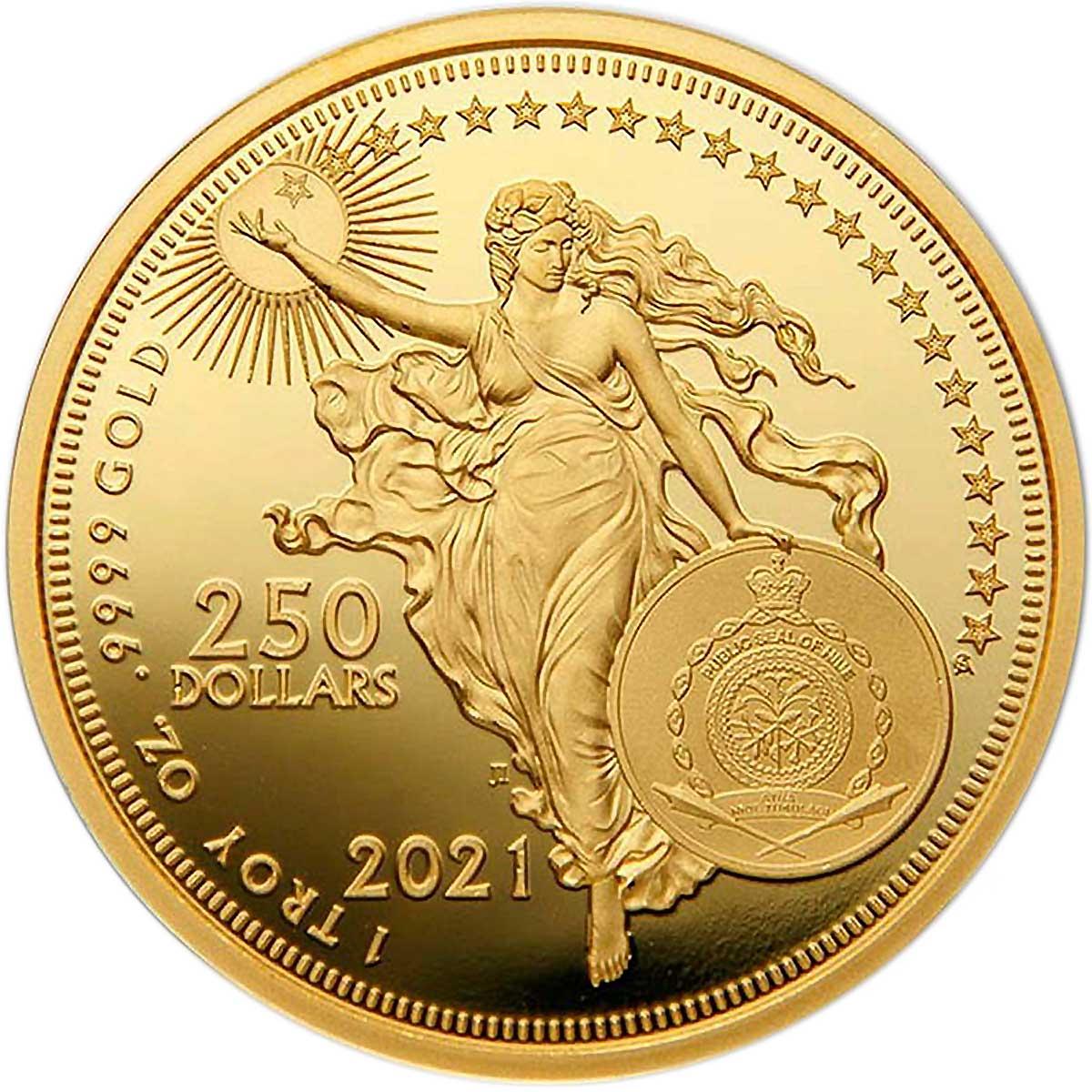 Ниуэ монета 250 долларов Галилео Галлилей, аверс