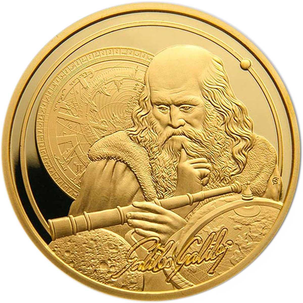 Ниуэ монета 250 долларов Галилео Галлилей, реверс