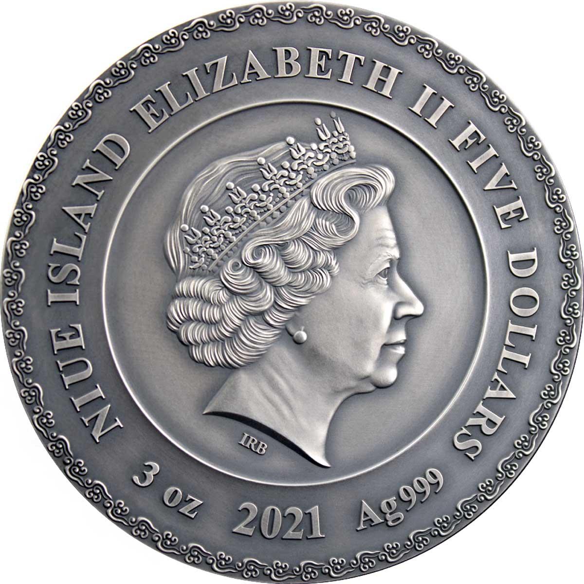 Ниуэ монета 5 долларов 2021 год, аверс