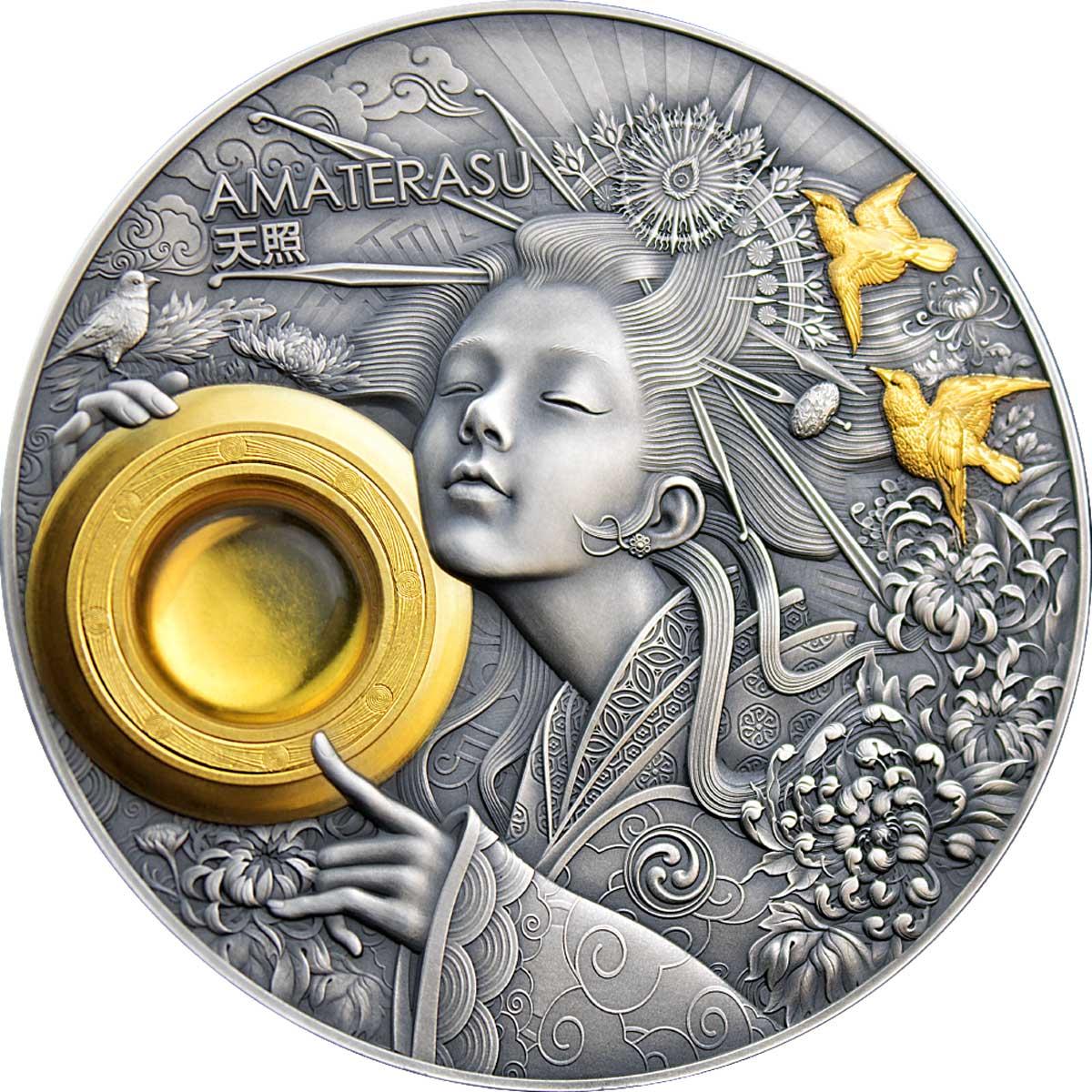 Ниуэ монета 5 долларов Аматэрасу, реверс