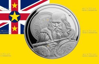Ниуэ монета 5 долларов Галилео Галлилей