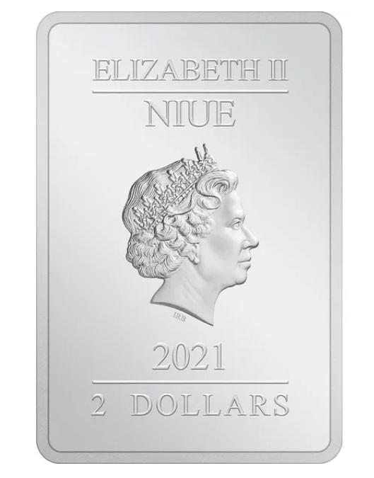 Ниуэ прямоугольная монета 2 доллара, 2021 год, аверс