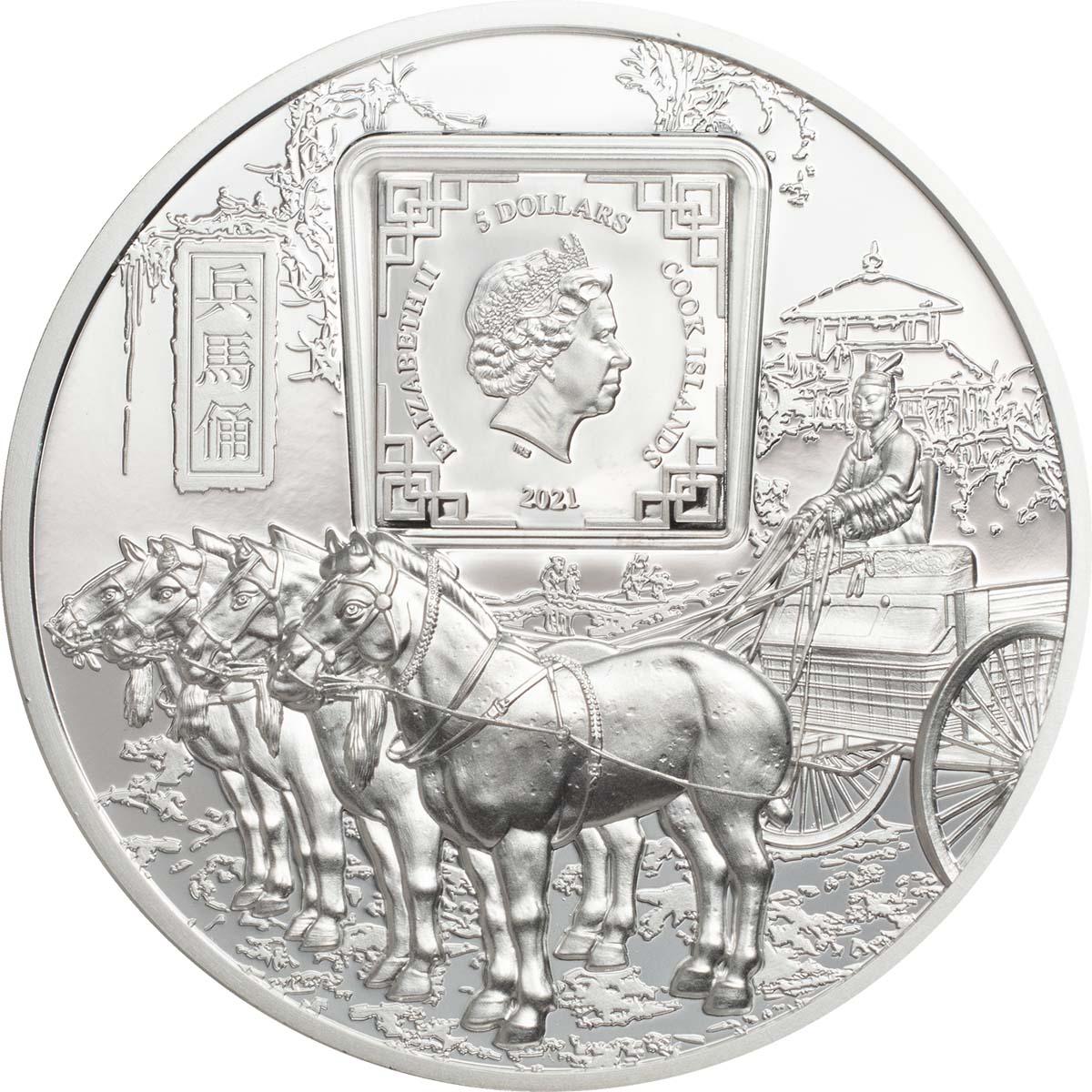 Острова Кука монета 5 долларов Терракотовая армия, аверс