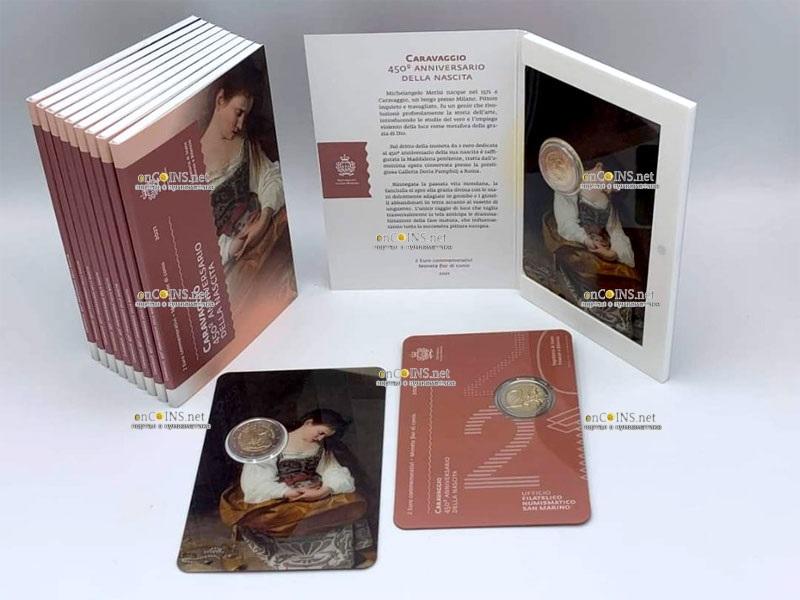 Сан-Марино монета 2 евро Караваджо, подарочная упаковка