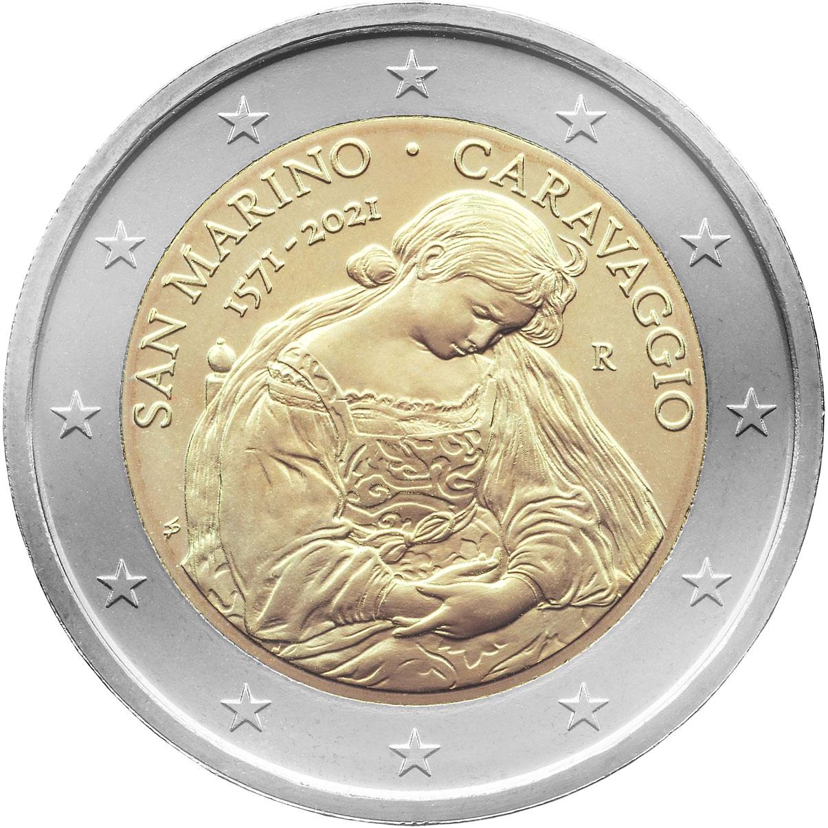 Сан-Марино монета 2 евро Караваджо, реверс
