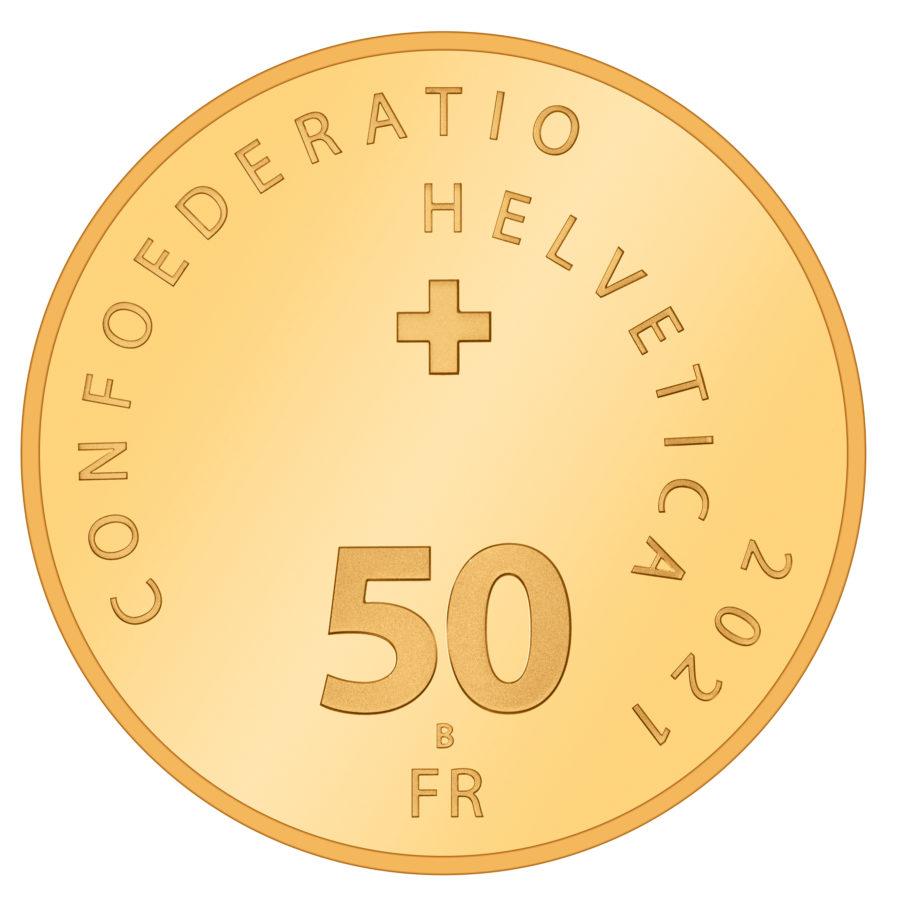 Швейцария монета 50 франков 2021 год, аверс