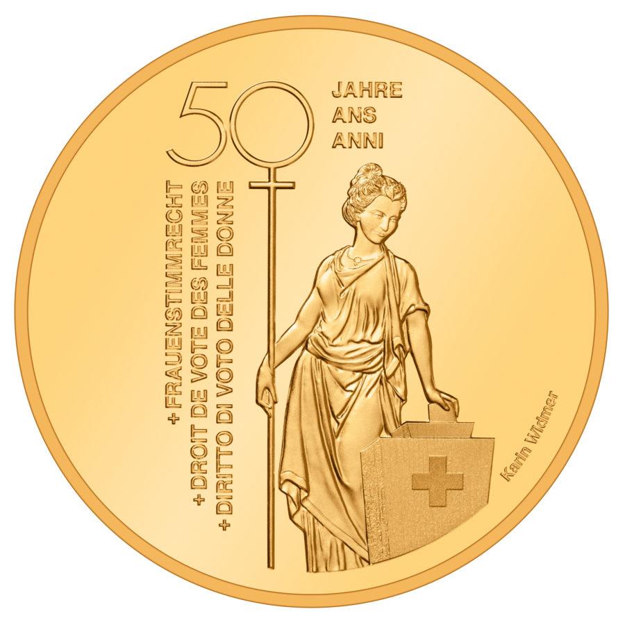 Швейцария монета 50 франков Избирательное право женщин Швейцарии, реверс