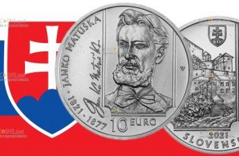 Словакия монета 10 евро Янко Матушка