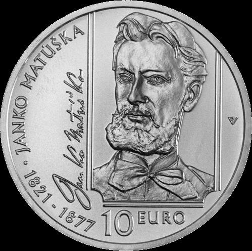 Словакия монета 10 евро Янко Матушка, реверс
