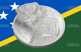 Соломоновы острова монета 5 долларов Большая Белая акула