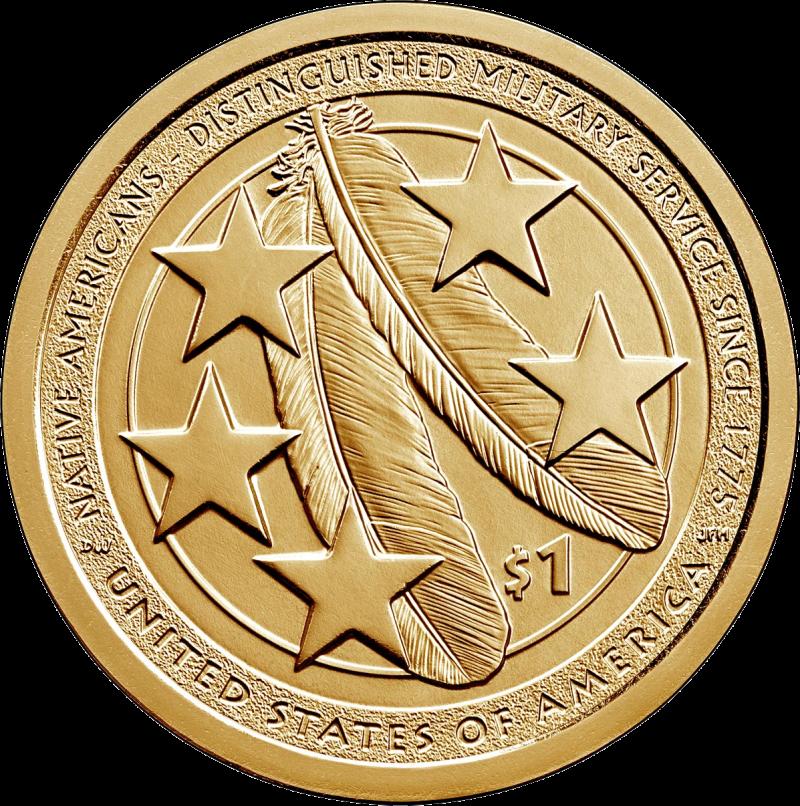 США монета 1 доллар Американские Индейцы в армии США, реверс