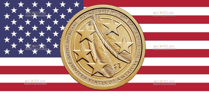 США монета 1 доллар Американские Индейцы в армии США