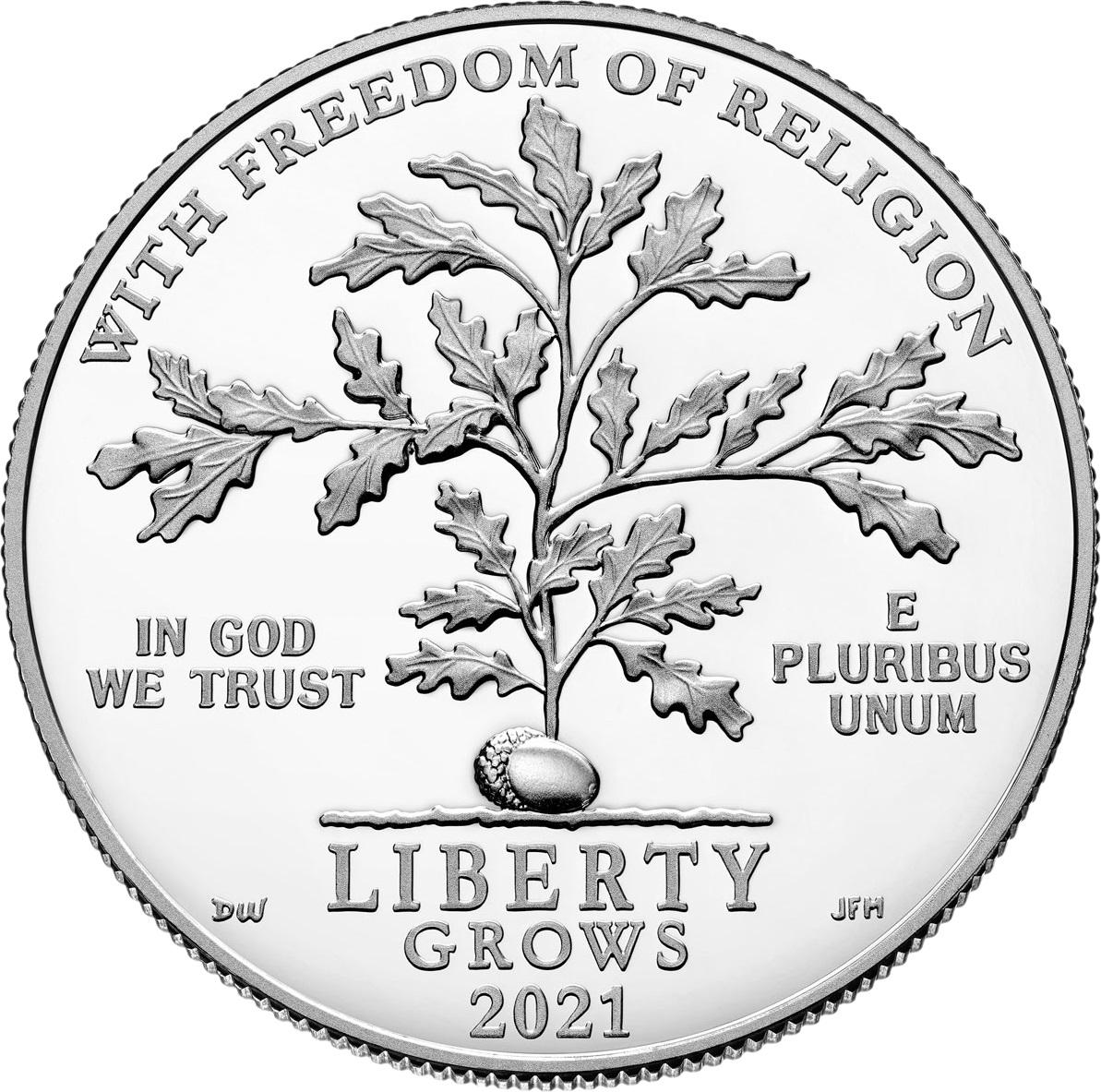 США монета 100 долларов Свобода религии, реверс