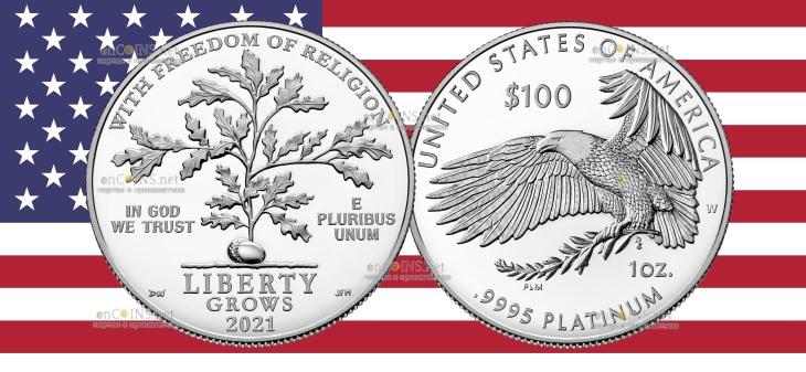 США монета 100 долларов Свобода религии