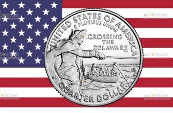 США монета 25 центов генерал Джордж Вашингтон форсирует Делавэр, реверс