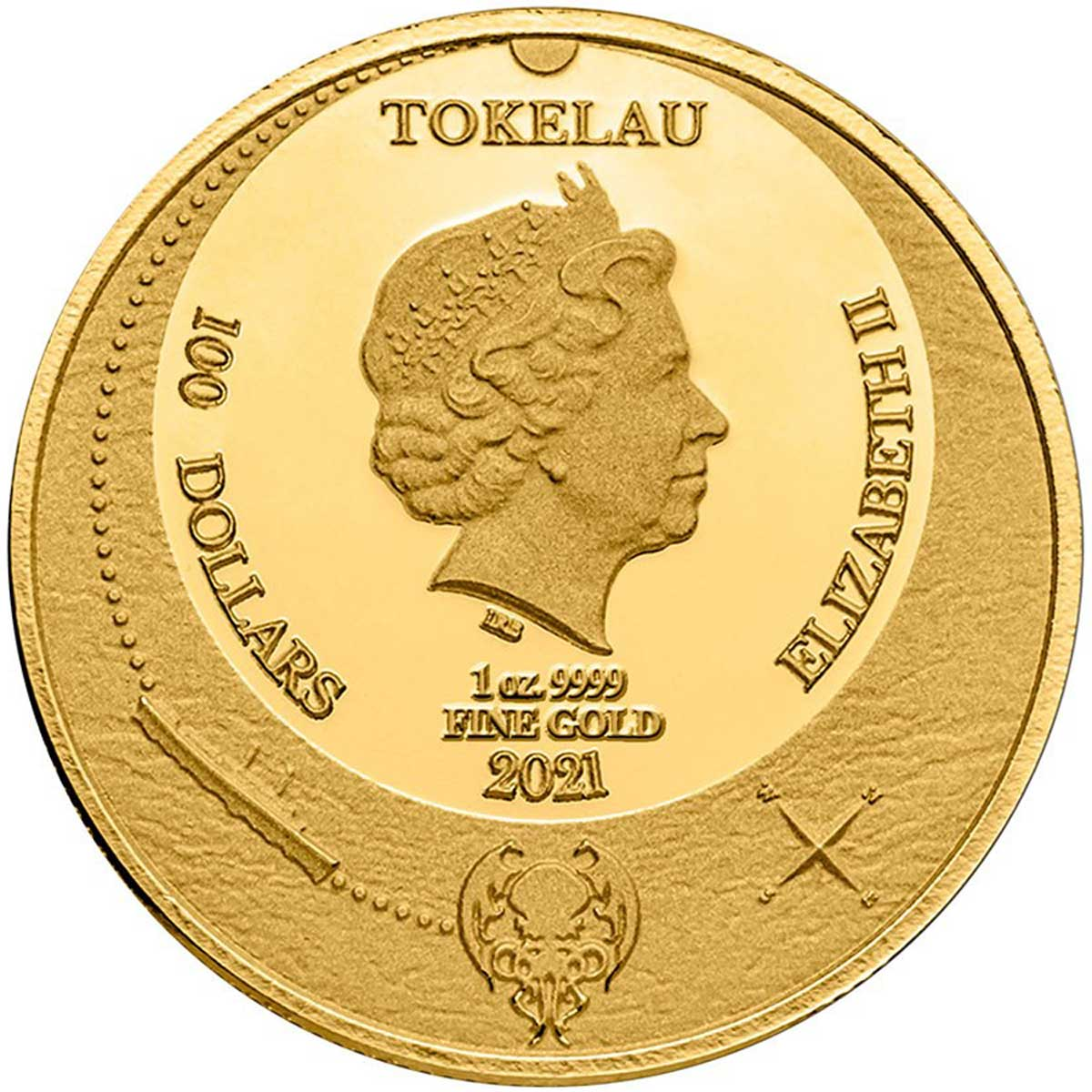 Токелау выпускает монету 100 долларов Ктулху, аверс