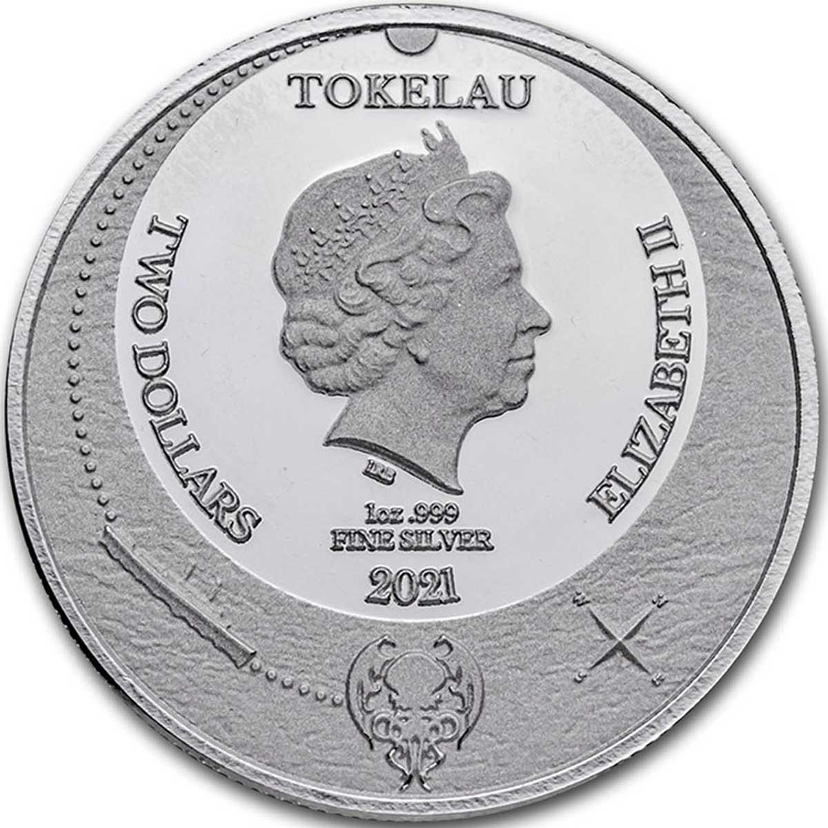 Токелау выпускает монету 2 доллара Ктулху, аверс