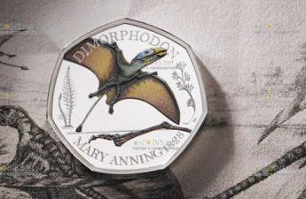 Великобритания монета 50 пенсов Диморфодон