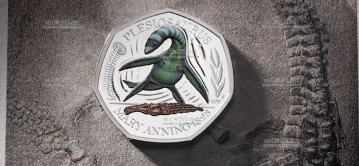 Великобритания монета 50 пенсов Плезиозавр