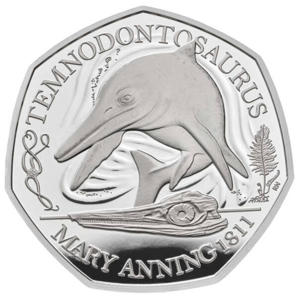 Великобритания монета 50 пенсов Темнодонтозавр, серебро, реверс