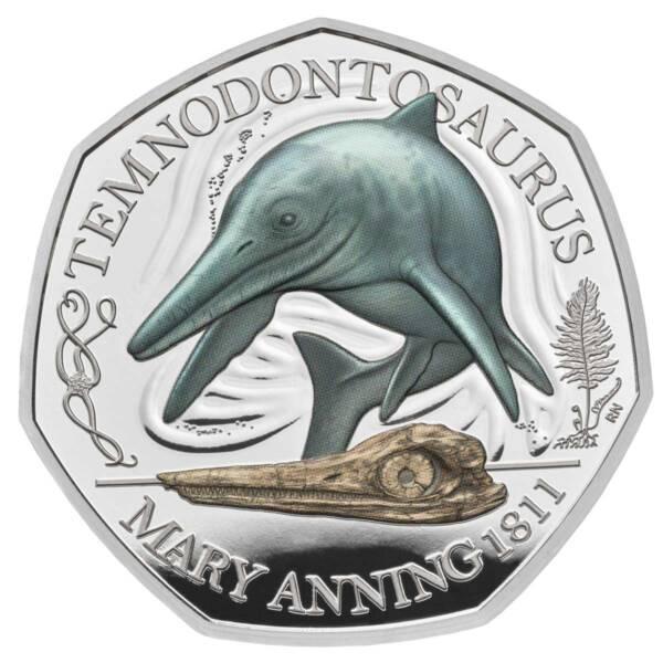 Великобритания монета 50 пенсов Темнодонтозавр, серебро + цвет, реверс