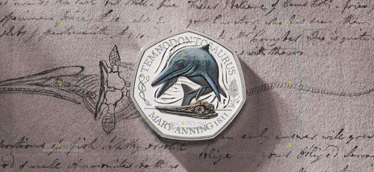 Великобритания монета 50 пенсов Темнодонтозавр