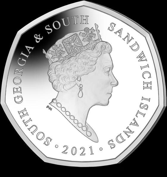 Южная Джорджия и Южные Сандвичевы монета 50 пенсов Крылья ангела, аверс