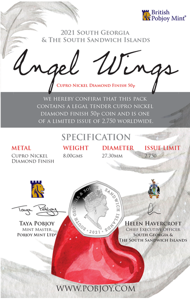 Южная Джорджия и Южные Сандвичевы монета 50 пенсов Крылья ангела, подарочная упаковка