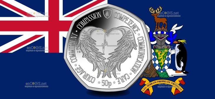 Южная Джорджия и Южные Сандвичевы монета 50 пенсов Крылья ангела