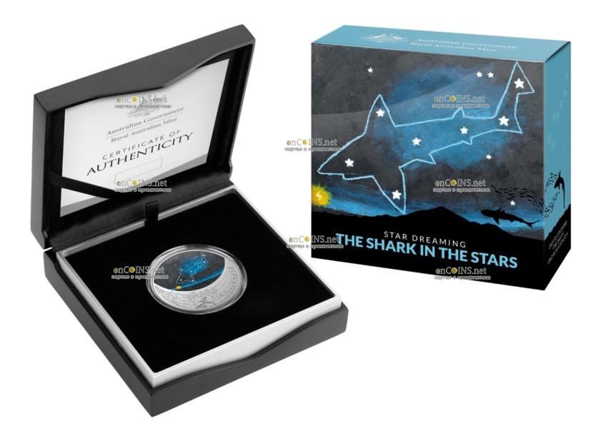 Австралия монета 1 доллар Звездная акула, подарочная упаковка