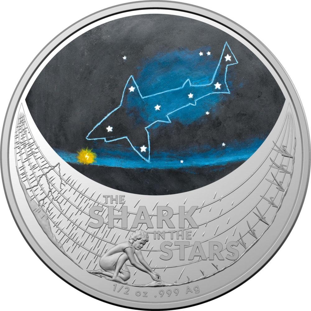 Австралия монета 1 доллар Звездная акула, реверс