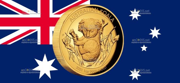 Австралия монета 100 долларов Австралийская коала