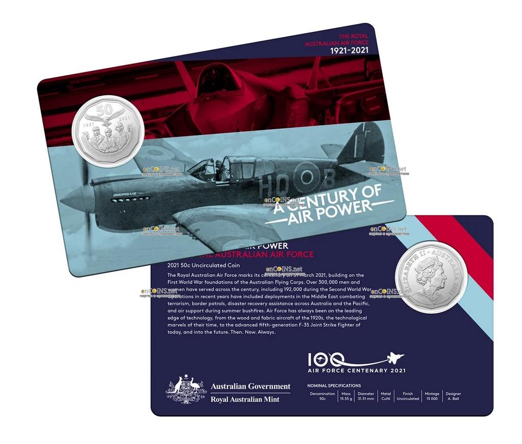 Австралия монета 50 центов - 100 лет Королевским военно-воздушным силам Австралии, подарочная упаковка