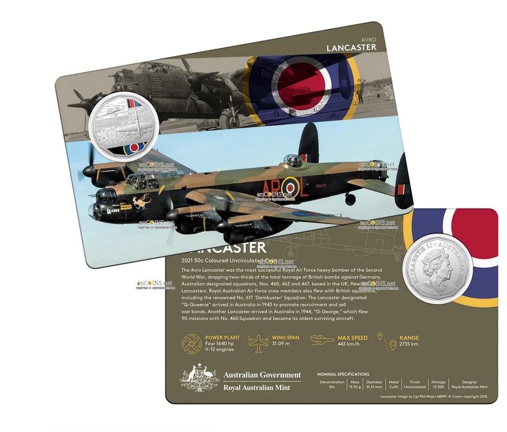 Австралия монета 50 центов Avro Lancaster, подарочная упаковка